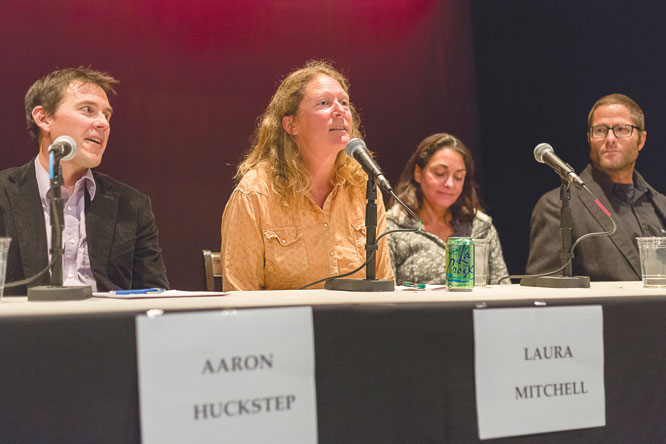 Laura Mitchell answers questions at the Crested Butte News Candidates Forum.   photo by Lydia Stern