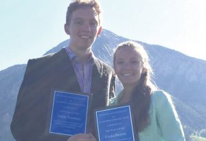 CONGRATULATIONS:  The 2016 Crested Butte Community School Titan Award winners are Aiden Truettner and Ericka Bremer. The Titan Award is an athletic award with academic and citizenship components.  It is voted on by staff and coaches.      courtesy photo