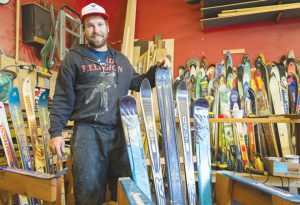 SITTING IN STYLE:  Paradise Ski Chairs, located at 322 Belleview Ave., constructs outdoor furniture from retired skis and snowboards.     photo by Lydia Stern