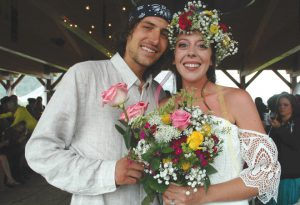 CONGRATULATIONS: Alex Theaker and Victoria Walls were married on Friday, August 5 at Rainbow Park. photo by Corky Lucks