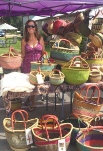 NEW BUSINESS:  Lisa Merck is now selling baskets and bags at the CB Farmers Market to help decrease plastic bag use in town.  courtesy photo