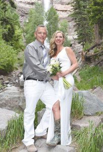 NEWLYWEDS: Mr. Ben & Mrs. Allison Poswalk were married on June 11 in Ouray, Colorado with Tim Clark making it official.  courtesy photo