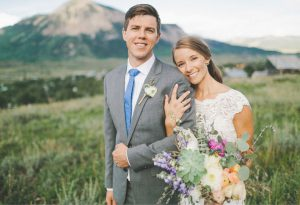 NEWLYWEDS:  Michael David Garber of Portage, Michigan married Crested Butte nativeand fellow Michigan Wolverine Abigail Janet Leinsdorf on August 13 in a meadow overlooking town and the Elk Mountains.     courtesy photo